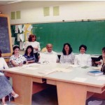 ESL Class for parents of students who were studying Farsi at Farsi School on Saturdays from 10 AM to 2:30 PM at a school on Lawrence and Avenue Rd. 1983 From right sitting: Ms. Raz, Ms. Parvin Jalili, X, X, Mr. Zahedi, X, X, X. Standing: ESL Teacher (Mrs. Farideh Nasseh) Photo Credit: Mrs. Farideh Nasseh