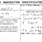 Immigration Identification Card, Feb 13, 1973 Toronto Photo Credit: Dr. Eshrat Arjomandi