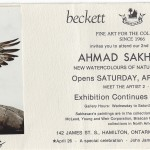 Invitation Card to the 2nd exhibition of Ahmad Sakhavarz paintings Beckett Gallery, April 26, 1986, Hamilton Mr. Ahmad (Alan) Sakhavarz is a signature member of the Society of animal artists and the Oil painters of America. Photo Credit: Ahmad (Alan) Sakhavarz