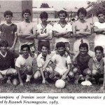 Iranian Soccer League Aug 28, 1983 at Roywood School in North York During the summer of 1982 and Iranian soccer league was formed made up of four teams (Rasaneh, Pars, Shahbaz and Homa) who played at Roywood School in North York before moving to Cliffwood Park the next year. On Aug 28, 1983, a special ceremony was held to honour that year's champions and to encourage participation in the Iranian Soccer League. Commemorative plaques were provided by the Rasaneh news magazine whose editor was the founder of the League.  Photo Credit: Iranians in Ontario, by M. S. Kazemi, Mihan Publishing Inc. 1986