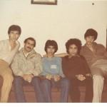 Left to right: Eskandar Nik Khah , Farhad, Esfandiar Nik Khah ,unknown, Mehrdad at Esfaniar's Apt Toronto 1978 Photo Credit: Esfandiar Nik Khah