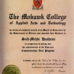 Mehdi Hashemi Diploma of Applied Arts and Technology 1970 Photo Credit: From Iran to Canada and a Life in Between, by Mehdi Hashemi, 2004
