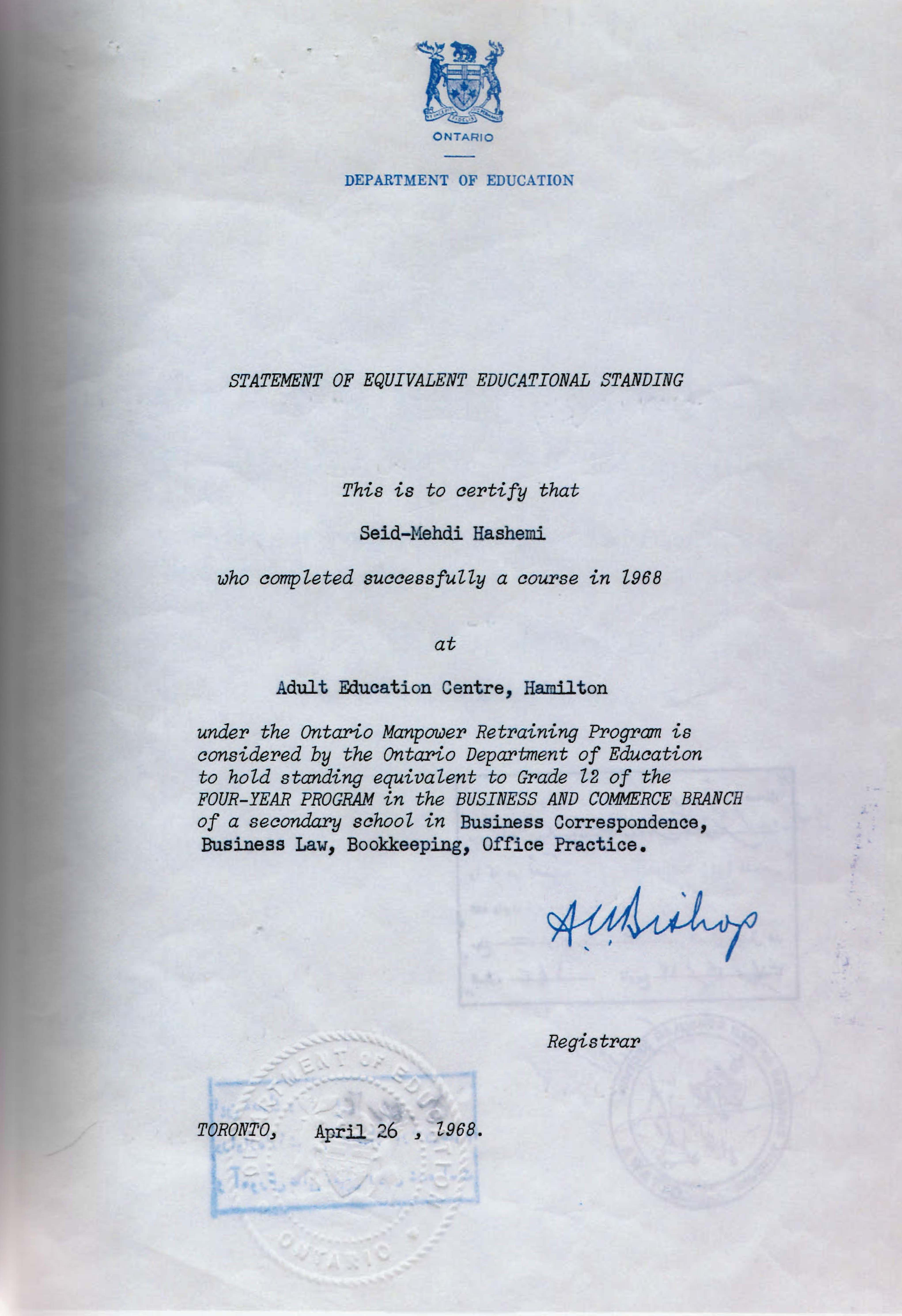 Personal Documents Iranian Canadian Oral History