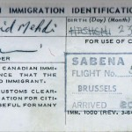 Mehdi Hashemi Immigration ID Dec 20, 1965 Montreal Photo Credit: From Iran to Canada and a Life in Between, by Mehdi Hashemi, 2004