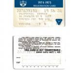University of Toronto Student Card, 1974-1975 Photo Credit: Dr. Eshrat Arjomandi