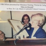 Splendid Cultural Ceremony, Mahin Kazemi presented her Miniature Painting  to Hon Dr. Lily Munro (Minster of Citizenship and Culture), 1986 Photo Credit: Mihan Kazemi