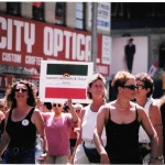 Dyk March Pride, 1996, Toronto Shamsi Riasatian (Shamsi proudly introduce herself as the first open (1996) and oldest Iranian lesbian in Toronto) Photo Credit: Shamsi Riasatian