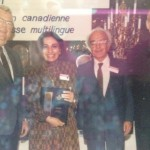Ethno Press presented Award to Mihan Kazemi for her Dedication and Presentation of Persian Art and Culture, 1988 Photo Credit: Mihan Kazemi