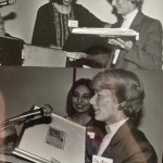 Mahin Kazemi presented her Miniature Painting (on behalf of the Ethnic Press Association of Ontario) to Hon Dr. Lily Munro (Minster of Citizenship and Culture), 1986 Photo Credit: Mihan Kazemi